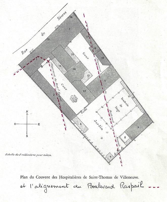 Plan de la maison-mère, avec tracé du futur boulevard Raspail